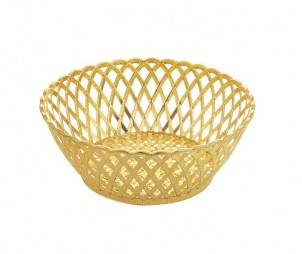 Round Electroplated Gold Hollow Tray