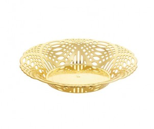 Round Electroplated Gold Tray