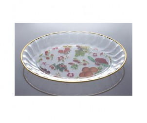 Clear Oval Tray+Gold Border