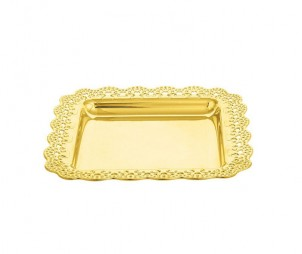 Square Electroplated Gold Tray